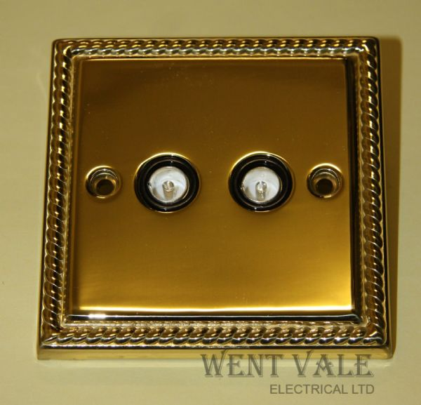 Acel AC1334 Georgian Brass Twin Non-Isolated TV/FM Co-Axial Sockets New